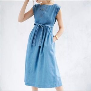 COURTSHOP UO Chambray Fit & Flare Midi Dress NWT